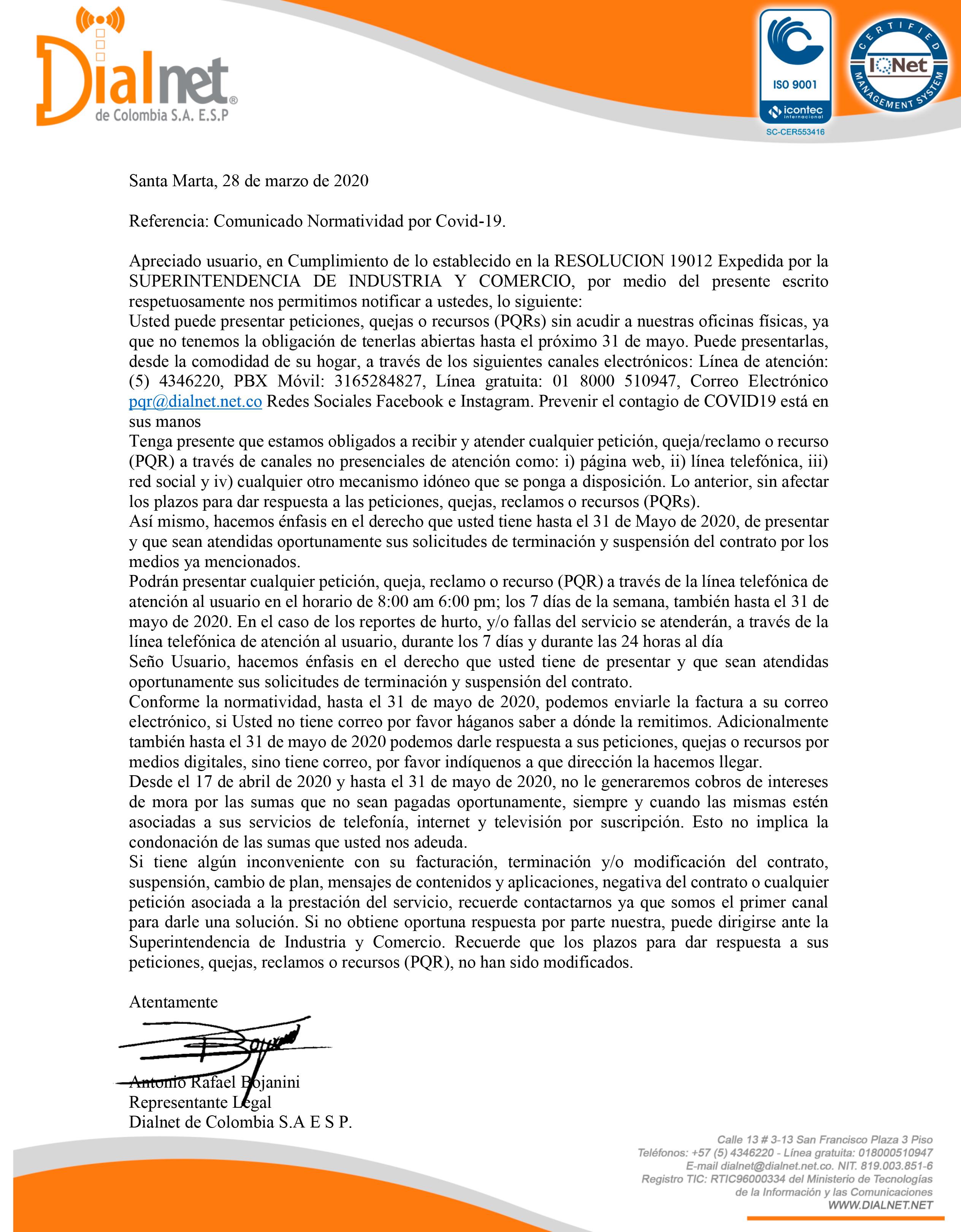 Comunicado a Usuarios Comunicado Normatividad por Covid-19